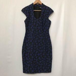 BADGLEY MISHKA TEXTURED FLORAL DRESS BLACK BLUE 4